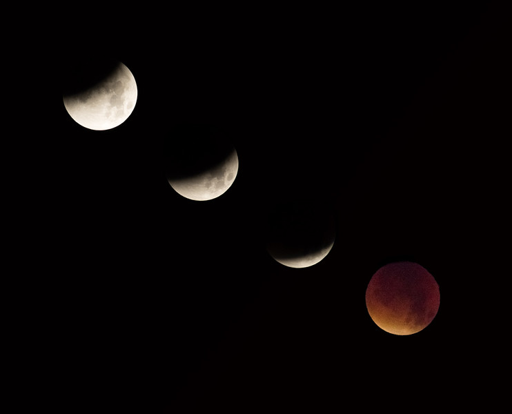 Composite of lunar eclipse - 2 October 2015