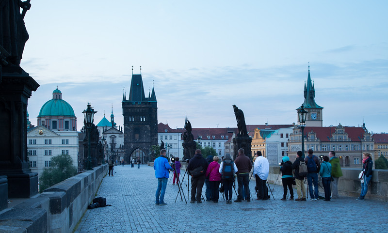 Busy spring morning on Charles Bridge in Prague - 30 June 2015