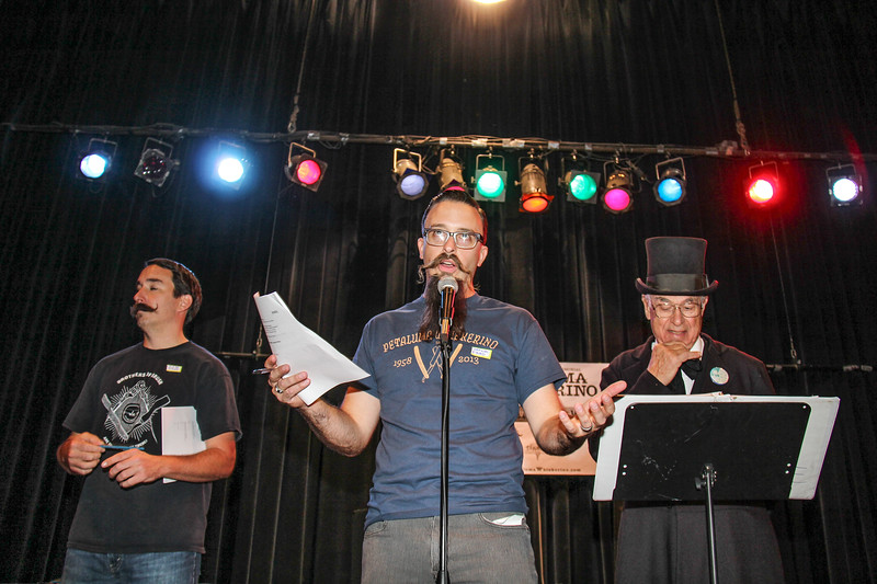 Tyler Warrender, Fred Abcrombie and Bill Hammerman, at the Whiskerino Contest held at the Phoenix Theather on October 5, 2013