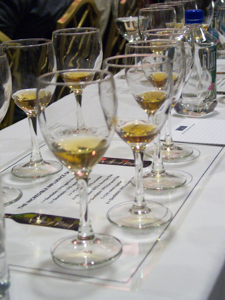 Ah, a tasting setup in one of the seminars. The importance of wood at Glenfiddich. Wow...