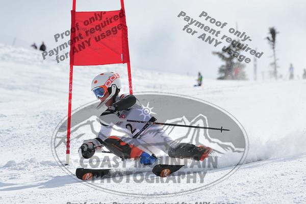 April 6th, 2012. Finn Iles from the Whistler Mtn Ski Club, Canada took 1st place during the Boys K1 Kombi Ski Race, part of the 2012 Whistler Cup, on Whistler Mountain, BC. Photo ByLogan Swayze - coastphoto.com