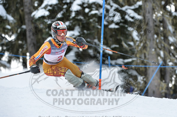 Max KIRSHENBLATT of WMSC/Canada takes 1st Place in the first run of the U16 Boys Slalom Race held on Whistler Mountain on April 5th, 2014. Photo by Scott Brammer - coastphoto.com