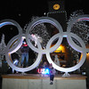 Allison and Shana draped on the rings in Whistler Village. The kids in the foreground built the USA sign (a bunch of LEDs) as a science class project.