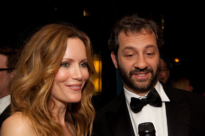 Judd Apatow, film producer and director with wife, actress Leslie Mann