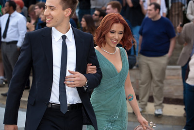 Scarlett Johansson escorted by twin brother Hunter