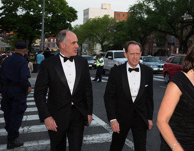 Pennsylvanian Senators Bob Casey (D) and  Pat Toomey (R) walk to the Hilton for White House Correspondents Dinner