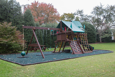Sasha and Malia Obama's swing set on the grounds of the White House  - October 2012