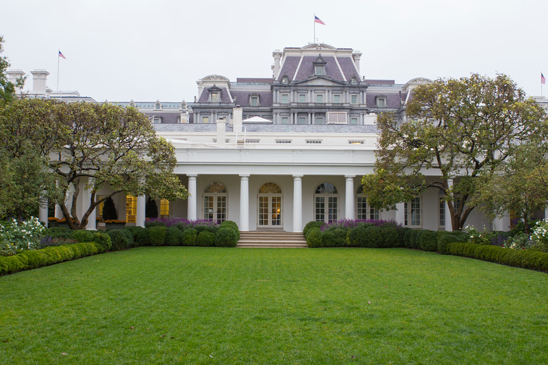 The White House rose garden.