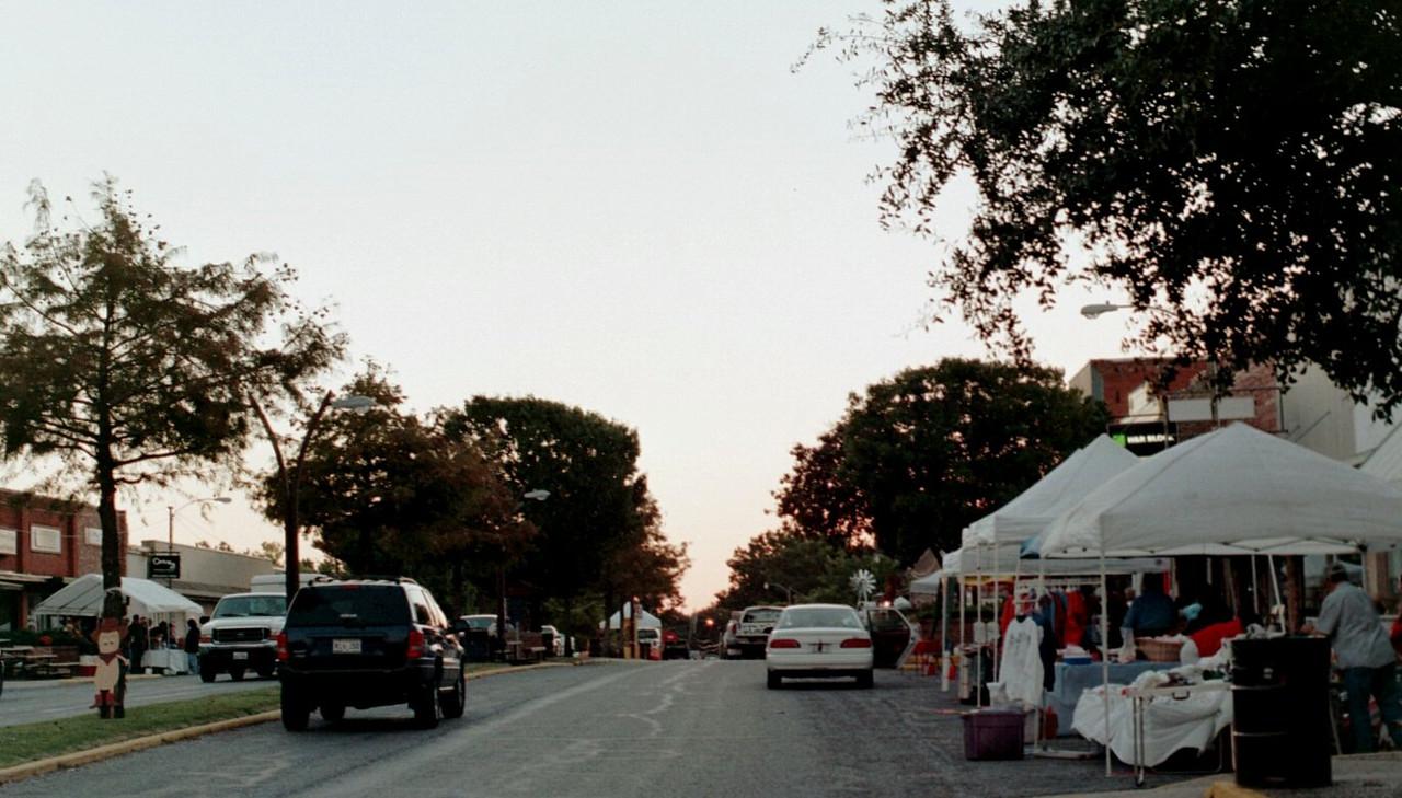 Early Morning Set Up.  Facing East on Main Whitesboro Peanut Festival, 2004