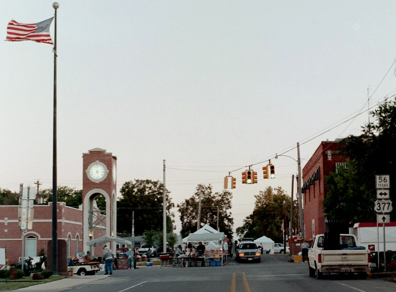 Early Morning Set Up at Main and Union Street. Whitesboro Peanut Festival, 2004