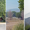 Whitewater-Baldy smoke June 4, 2012. A collage of photos taken at nearly the same time to show a typical smoky morning.<br /> The close view shows no effect, mid-distance shows haze, and longer distance (~4mi.) is nearly obscured.<br /> Photos by David Thornburg