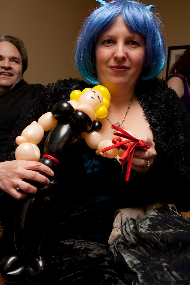 He made a dominatrix, with a flogger.