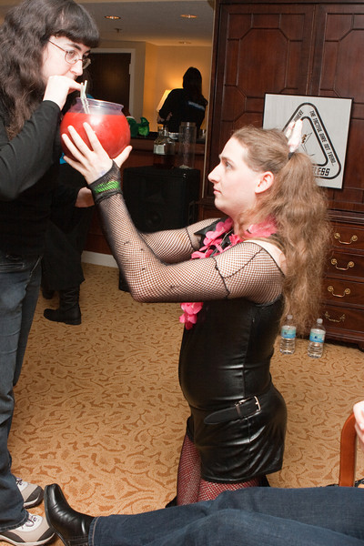 "Kiernan offers up some of the ""Pain Sphere"" at the barfleet party."