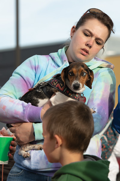 Matthew Gaston | The Sheridan Press<br>Oakley and her human, Janelle Cirvello discuss their stratgey for the race at Blacktooth Brewing during the weiner dog races Tuesday, June 11, 2019.