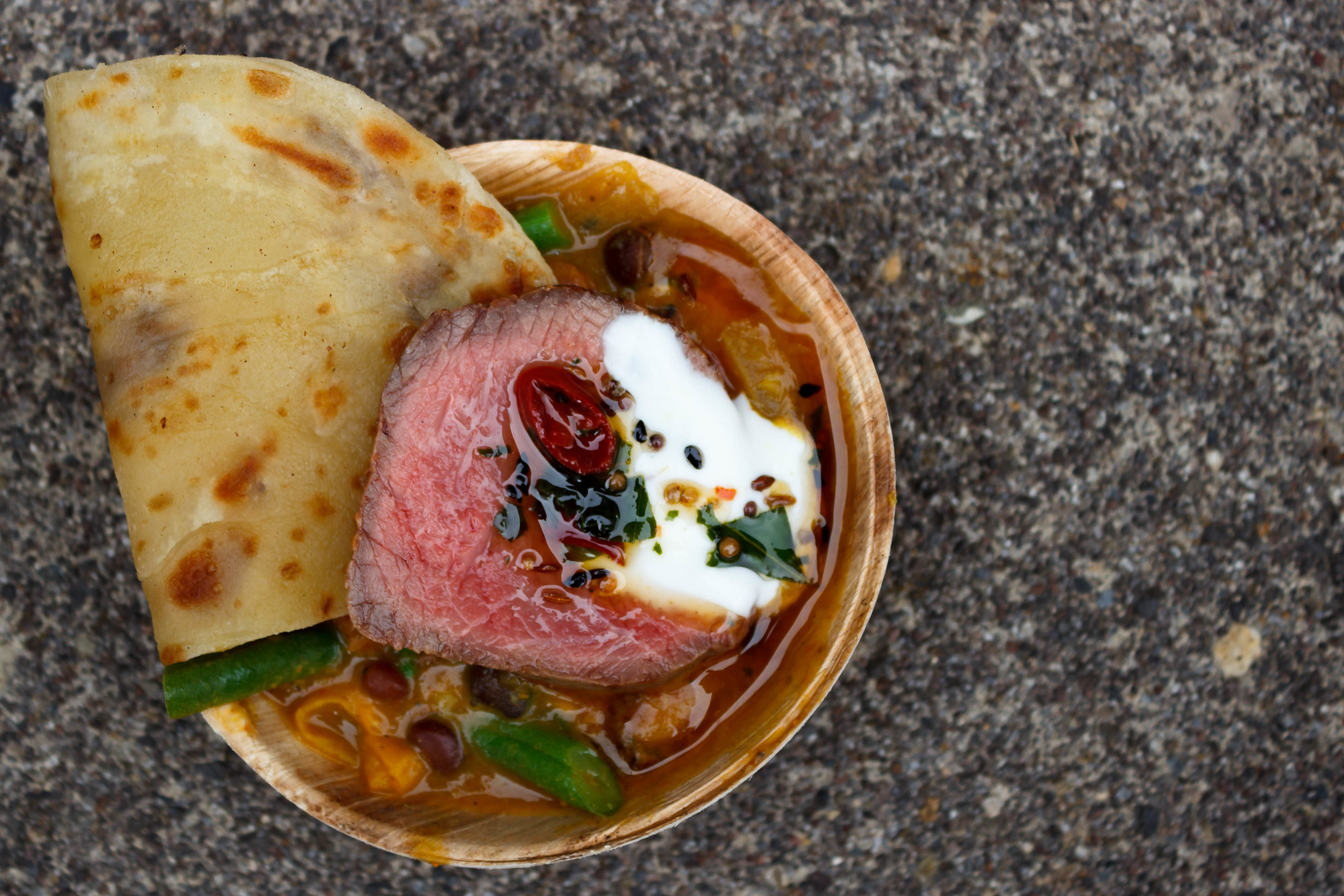 Wild Hawaiian Venison with shell bean & sweet pepper curry, and spiced riata