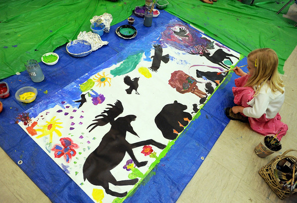 "Milena Serface, 5, is adding her touch to the animal artwork.<br /> The Wild Bear Mountain Ecology Center in Nederland celebrated Earth Day with live animals, activities, speakers, among other things on Sunday. For a video and more photos of Wild Bear, got to  <a href=""http://www.dailycamera.com"">http://www.dailycamera.com</a>.<br /> Cliff Grassmick / April 22, 2012"