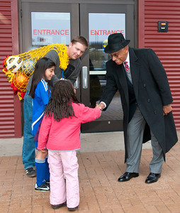 Young soccer players meet Mr. O'Ree at the Clyde Heritage Center.
