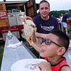 Pizza Eater.... (3 shots)  Jaden Tomacki with Dad, Les..... of Wilton, CT