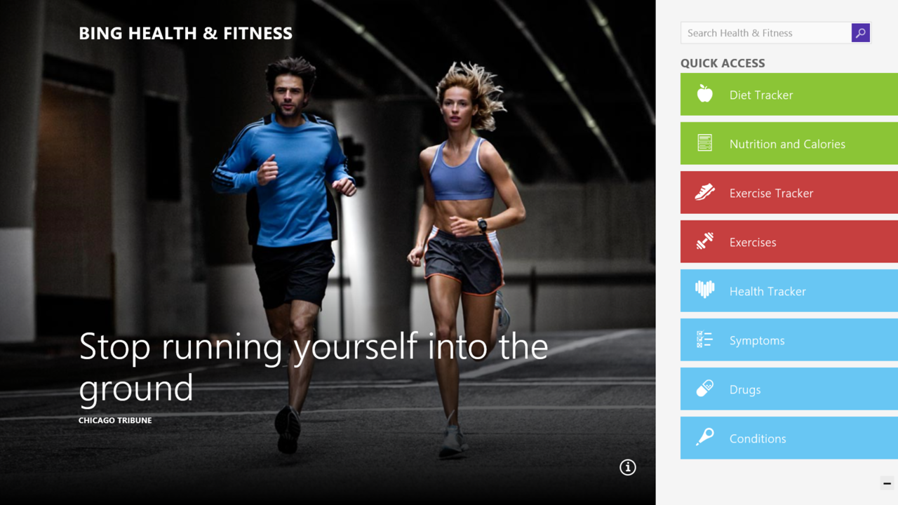 Microsoft added a couple of new native apps to Windows 8.1. One is the Health & Fitness app, which offers tools for tracking workouts and diet.