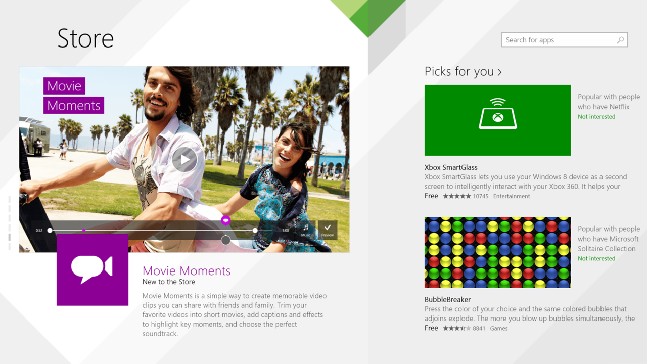 Looking to make app discovery easier, the Windows Store now features a flatter layout and offers personal recommendations.