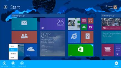 Windows 8.1 offers more opportunities to customize the Start screen, including the ability to resize tiles and add animated background images.
