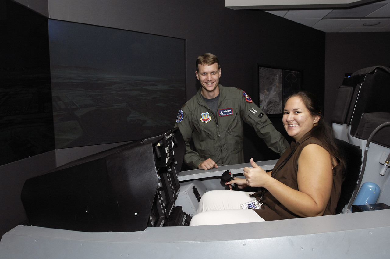 "I was able to ""fly"" the F-22 simulator at Lockheed Martin Aeronautics in Marietta where test pilot and instructor ""Zeke"" guided me through my flight."
