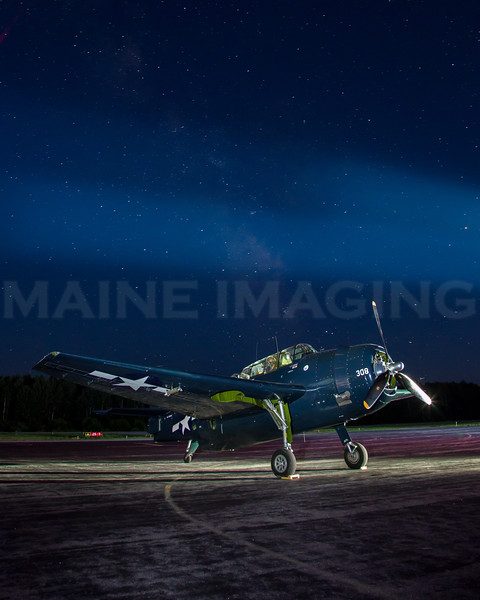 Lightpainting.  TBM-3E Avenger Torpedo Bomber.  Terxas Flying Legends Museum.  Wiscasset, Maine.    9692