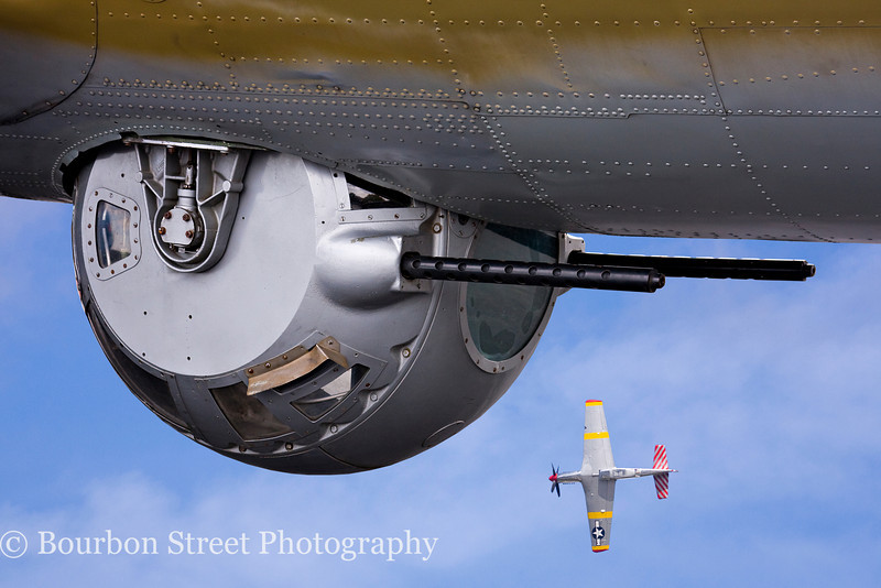 Belly Turret on a B-17G, TP-51C Mustang in background.