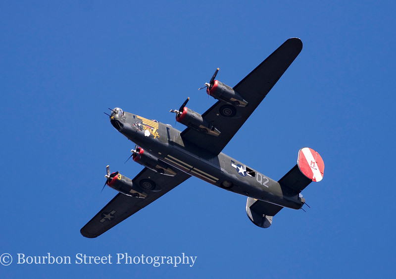 "Consolidated B-24J Liberator ""Witchcraft""; flyover before landing."