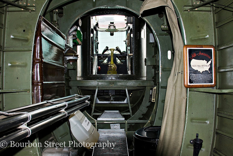 Looking down the rear fuselage, out the tail gunner position.