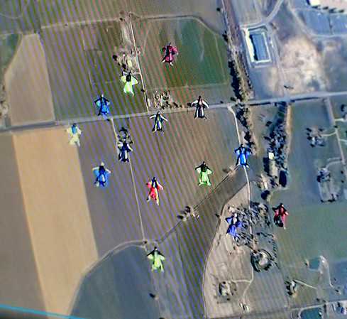 """The view from the video camera above the group on Sunday.<br /> A group of Colorado wingsuit skydivers set a Colorado record this weekend at 14 people at Vance Brand Airport and Mile-Hi Skydiving in Longmont.<br /> For more photos and a video, go to www.dailycamera of  <a href=""""http://www.timescall.com"""">http://www.timescall.com</a>.<br /> Cliff Grassmick  / October 21, 2012"""