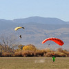 """Part of the wingsuit group land after a second attempt to break the Colorado record.<br /> A group of Colorado wingsuit skydivers set a Colorado record this weekend at 14 people at Vance Brand Airport and  Mile-Hi Skydiving in Longmont.<br /> For more photos and a video, go to www.dailycamera of  <a href=""""http://www.timescall.com"""">http://www.timescall.com</a>.<br /> Cliff Grassmick  / October 21, 2012"""