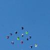"""Wingsuit skydivers move into formation to make the dive official, A video/photographer diver is top right to document the event.<br /> A group of Colorado wingsuit skydivers set a Colorado record this weekend at 14 people at Vance Brand Airport and  Mile-Hi Skydiving in Longmont.<br /> For more photos and a video, go to www.dailycamera of  <a href=""""http://www.timescall.com"""">http://www.timescall.com</a>.<br /> Cliff Grassmick  / October 21, 2012"""