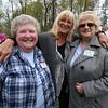 Winslow School reunion in Tyngsboro. Twins Jean (Bauer) Dean '62 of Tyngsboro, left, and Joan (Bauer) Santos '62 of Dracut, right, and Debbie Anderson '71 of Merritt Island, Florida. (SUN/Julia Malakie)