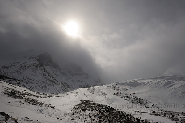 Columbia Icefields on a dreary winter day