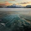 Mountain Sunset and Frozen Lake