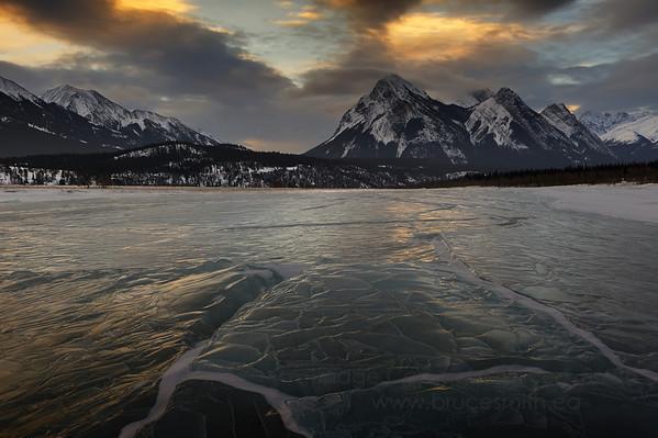 Sunrise reflection on the ice