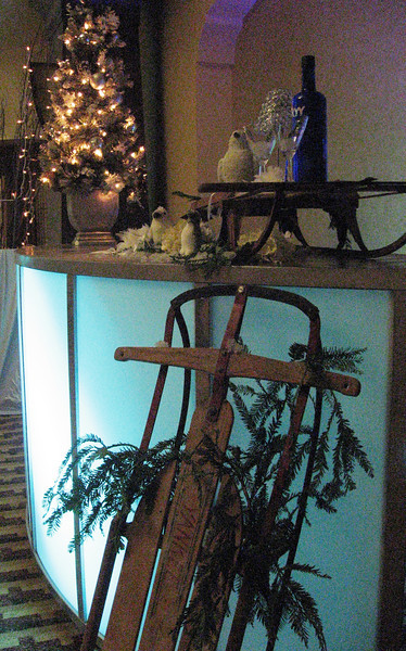 Vintage Sleds & Illuminated Bar