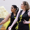 Westford Academy winter guard, including sophomores Jazmin Rodriguez, left, and Ellie Shephard, competes as Tewksbury Memorial High School hosts the New England Scholastic Band Association's competition. (SUN/Julia Malakie)