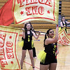 Westford Academy winter guard, including sophomore Jazmin Rodriguez, front, competes as Tewksbury Memorial High School hosts the New England Scholastic Band Association's competition. (SUN/Julia Malakie)