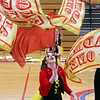 Westford Academy winter guard, including sophomore Ellie Shephard, front, competes as Tewksbury Memorial High School hosts the New England Scholastic Band Association's competition. (SUN/Julia Malakie)