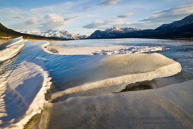 Slabs of ice on the frozen surface of Abraham Lake, Alberta.
