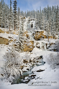 Tangle Falls, Jasper National Park, in early winter.