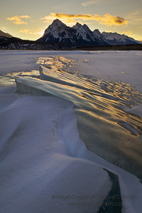 Sunrise over the amazing ice of Abraham Lake.