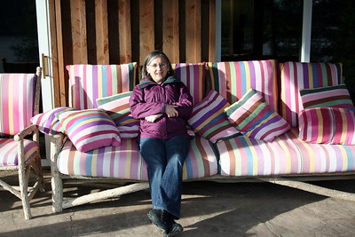 Mom Resting up before dinner on the couch of many colors. 2011