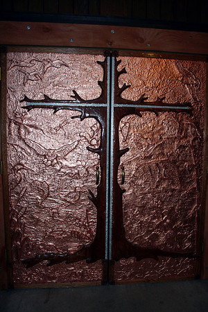 This was a really cool copper door that had different animals.