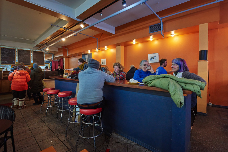 """Scene inside """"The Crepery""""  (a local restaurant on Second Avenue Fairbanks Alaska) on January 20, 2018. The restaurant had just quietened down, after having been briefly overrun by members of the public leaving after the conclusion of the second annual Women's March."""