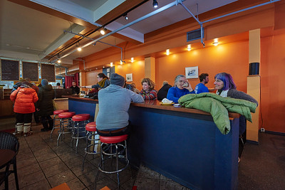 "Scene inside ""The Crepery""  (a local restaurant on Second Avenue Fairbanks Alaska) on January 20, 2018. The restaurant had just quietened down, after having been briefly overrun by members of the public leaving after the conclusion of the second annual Women's March."