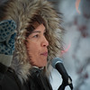 Arctic Village activist Princess Daazhraii Johnson speaks at the Women's March in Fairbanks Alaska on Jan 20, 2018. She spoke to a crowd of roughly 400 people about the need to preserve the Arctic environment and indigenous culture. Johnson is the former Executive Director of the Gwich'in Steering Committee and is also a published writer, actor and film director.