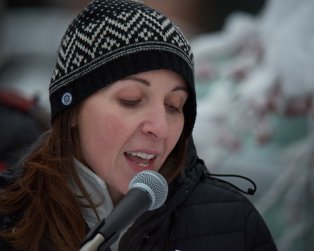 Rebecca Heaton from the Fairbanks League of Women Voters addresses the crowd of roughly 400 people who participated in the Women's March held in Fairbanks Alaska on January 20, 2018. Ms Heaton was one of the event organizers.